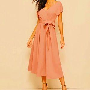 🌈3/$20 SHEIN Peachy Pink Midi Flare Dress